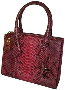 79f393747174 Michael Kors Collection Casey Satchel Red Claret Python Skin Leather ...