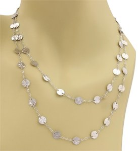 Other 14k White Gold 7mm Hammered Disc Station Long Chain Necklace 36