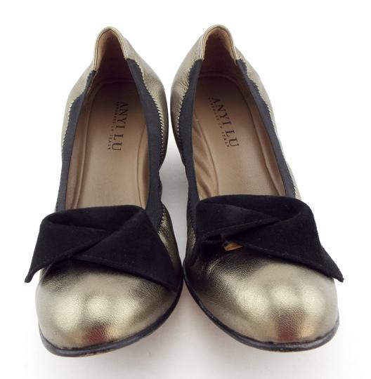 Anyi Lu Rosie Bow Pewter Heels Wedge Metallic Pumps Image 1