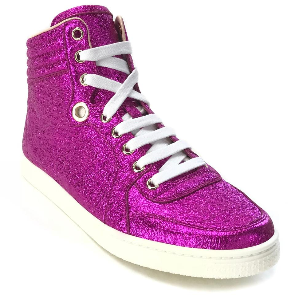 e67aed38a48 Gucci Fuchsia 409793 Women s Galassia Metallic Leather High Top ...