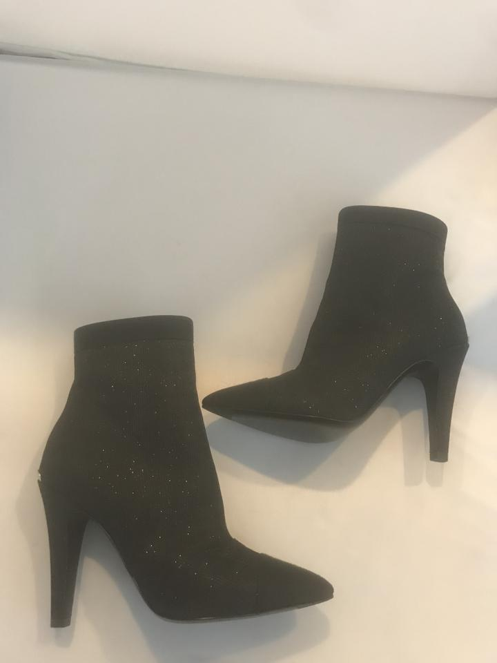0d8df94fc418 Chanel Black 17b Fantasy Glitter Sparkle Fabric Ankle Heels Boots Booties  Size EU 36 (Approx. US 6) Regular (M