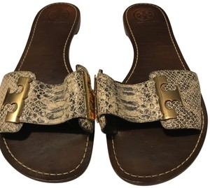 Tory Burch Snake skin print in taupe and black Sandals