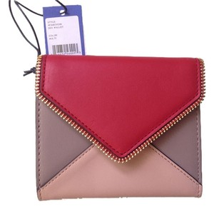 Rebecca Minkoff Brand New Rebecca Minkoff Colorblock Leather Dex Tri-Fold Wallet With Zipper Accent