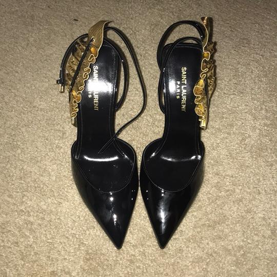 Saint Laurent Ruffle Heel Designer Heels And Patent Leather Black/Gold Pumps