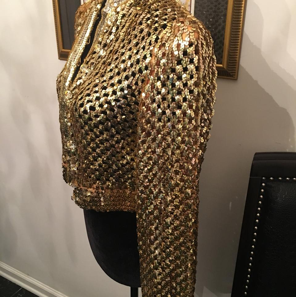 e984a56b Gold Harry Acton For Party Collectibles Cropped Sequin Jacket Size 6 ...
