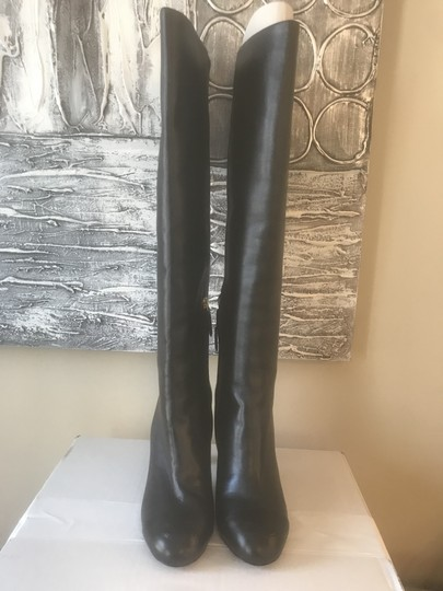 Chanel Cc Knee High Lambskin Pearly Black Boots Image 10