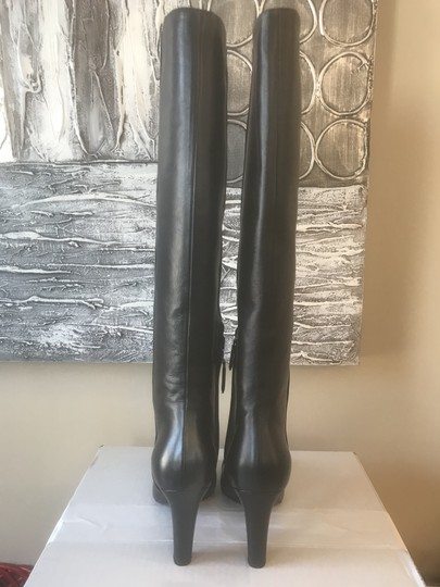 Chanel Cc Knee High Lambskin Pearly Black Boots Image 11