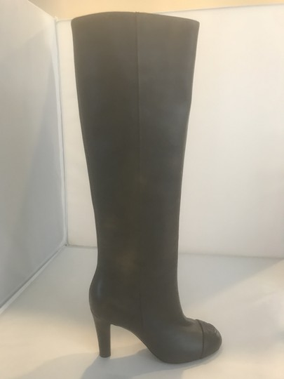 Chanel Cc Knee High Lambskin Pearly Black Boots Image 2