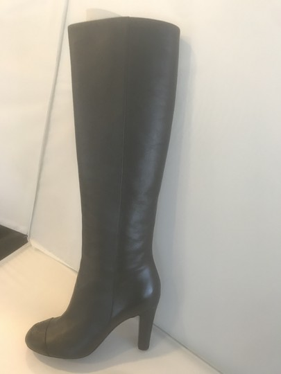 Chanel Cc Knee High Lambskin Pearly Black Boots Image 3