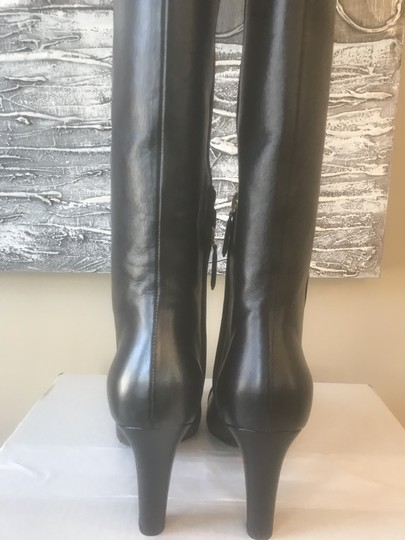 Chanel Cc Knee High Lambskin Pearly Black Boots Image 6