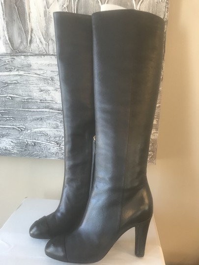 Chanel Cc Knee High Lambskin Pearly Black Boots Image 7