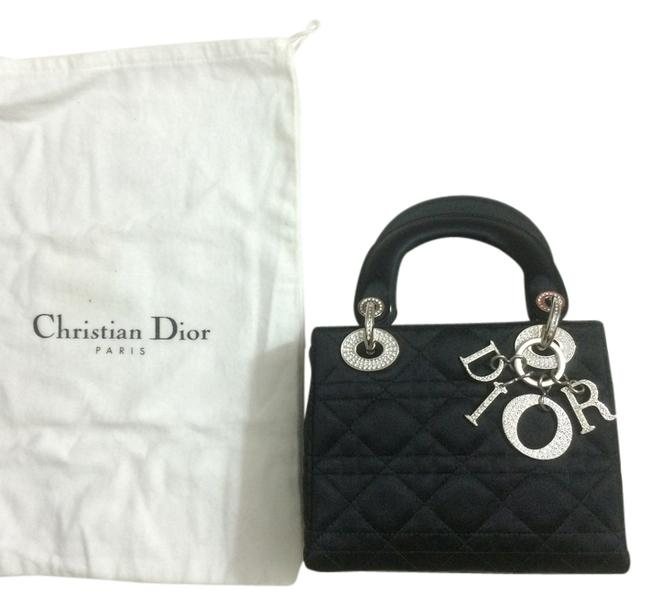 Item - Lady Limited Edition Quilted Mini Tiny Micro Rare with Crystals Logo Spellout Black Satin Satchel