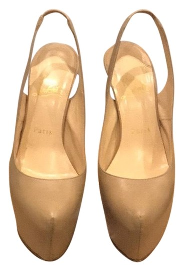 Christian Louboutin Nude Leather Platforms Image 0