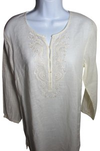 J.Crew Linen Cotton Embroidered Longsleeve Tunic