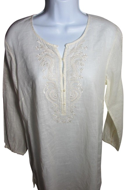 Preload https://img-static.tradesy.com/item/22779638/jcrew-cream-linen-embroidered-tunic-size-2-xs-0-3-650-650.jpg