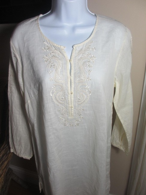 J.Crew Linen Cotton Embroidered Longsleeve Tunic Image 1