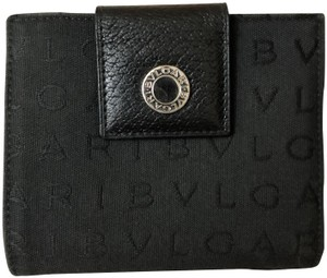 BVLGARI Bvlgari Black Monogram Fabric Bi Fold Small Wallet
