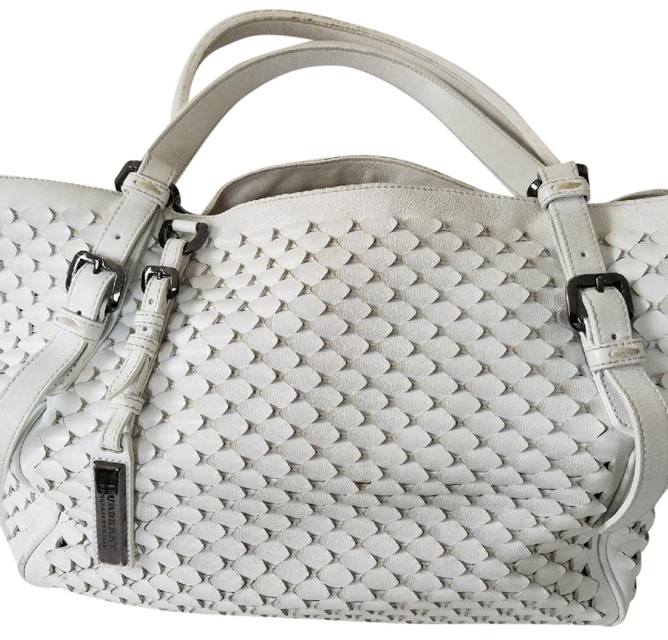 a6d107f9f7ee Burberry Woven White Leather Shoulder Bag - Tradesy