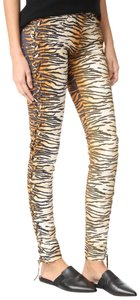 A.L.C. Laced Up Animal Print Pants Skinny Jeans-Medium Wash
