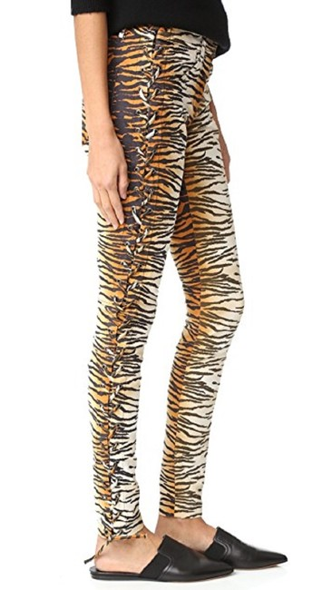 A.L.C. Laced Up Animal Print Pants Skinny Jeans-Medium Wash Image 1