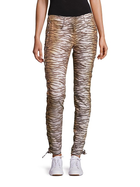 A.L.C. Laced Up Animal Print Pants Skinny Jeans-Medium Wash Image 10