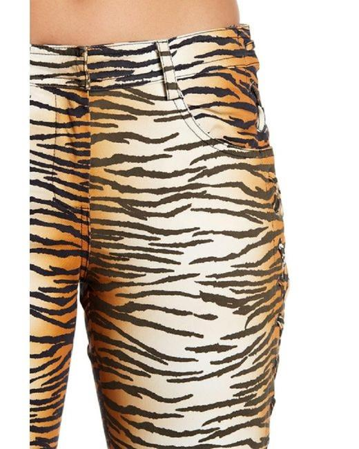 A.L.C. Laced Up Animal Print Pants Skinny Jeans-Medium Wash Image 5