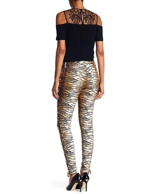 A.L.C. Laced Up Animal Print Pants Skinny Jeans-Medium Wash Image 7