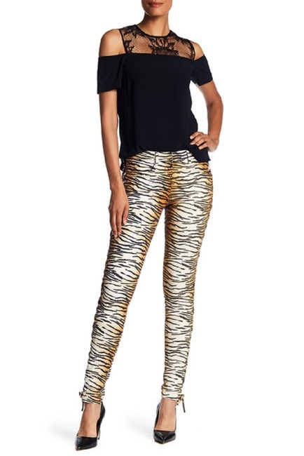 A.L.C. Laced Up Animal Print Pants Skinny Jeans-Medium Wash Image 8