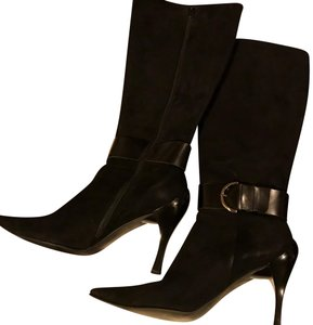 Linea Paolo Suede Leather Black Boots