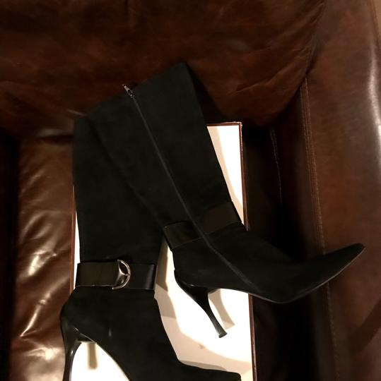 Linea Paolo Suede Leather Black Boots Image 3