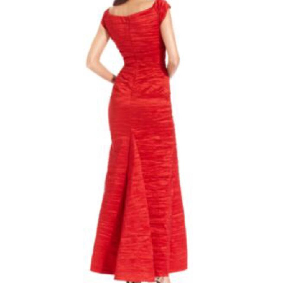 Alex Evenings Red Off The Shoulder Taffeta Crinkled Gown Long Formal ...
