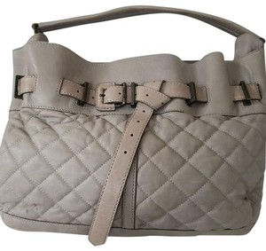 Burberry Quilted Shoulder Leather Satchel in gray taupe