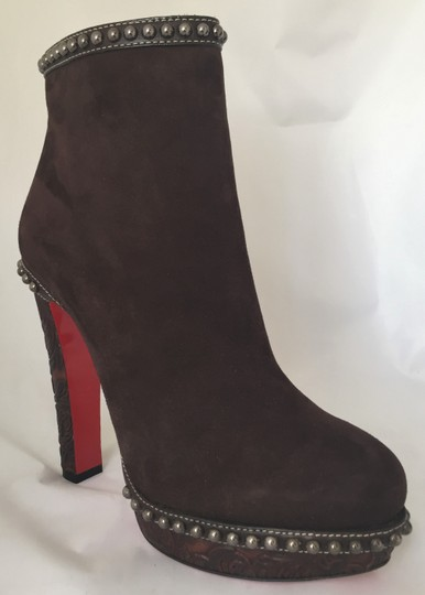 8b177097b73 Christian Louboutin Brown Figurina Platform 140 High Heel Lady Red Sole  Ankle Suede Italy Boots/Booties Size EU 40.5 (Approx. US 10.5) Regular (M,  B) ...