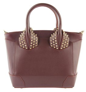 Christian Louboutin Tote Leather Satchel in Burgundy