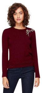 Kate Spade Crystals Wool Brooch Burgundy Sweater