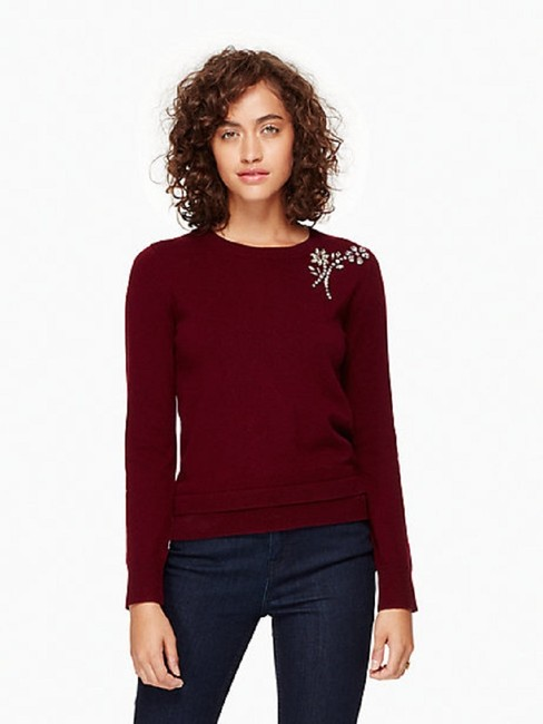Kate Spade Crystals Wool Brooch Burgundy Sweater Image 4