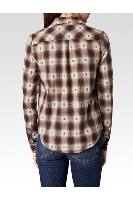 Paige Plaid Shirt Western Button Down Shirt Dusty Brown Image 2