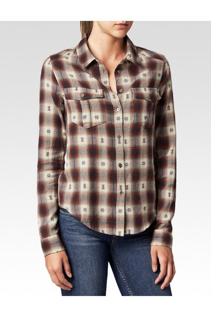 Paige Plaid Shirt Western Button Down Shirt Dusty Brown Image 4