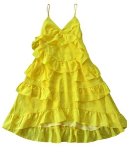 Anthropologie short dress Yellow Adjustable Straps Side Zip Happy Breezy Tiered Ruffled Bright Cool on Tradesy