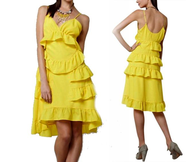 Anthropologie short dress Yellow Adjustable Straps Side Zip Happy Breezy Tiered Ruffled Bright Cool on Tradesy Image 1