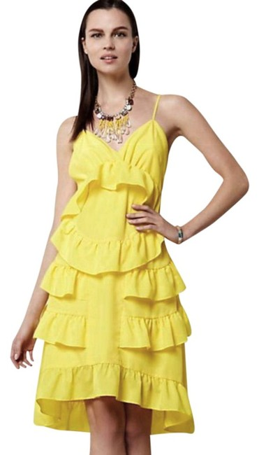 Anthropologie short dress Yellow Adjustable Straps Side Zip Happy Breezy Tiered Ruffled Bright Cool on Tradesy Image 2