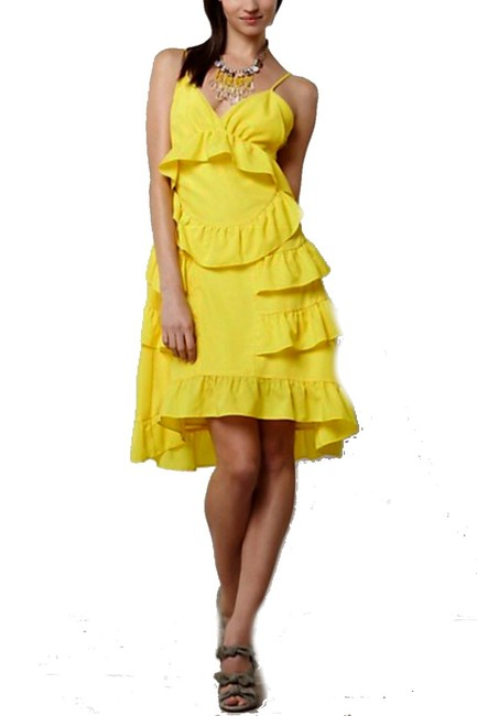 Anthropologie short dress Yellow Adjustable Straps Side Zip Happy Breezy Tiered Ruffled Bright Cool on Tradesy Image 3