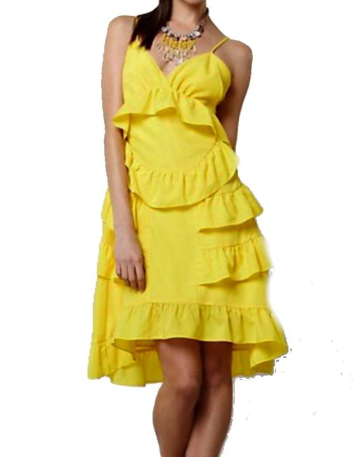 Anthropologie short dress Yellow Adjustable Straps Side Zip Happy Breezy Tiered Ruffled Bright Cool on Tradesy Image 4