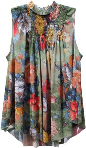 Deletta Sleeveless Floral Flowy Anthropologie Spring Top Green