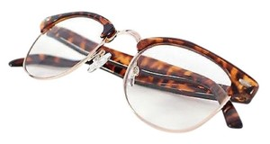 Tory's Timeless Treasures Retro Clubmaster Clear Reading Glasses/+2.50
