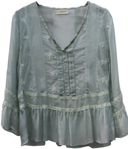 4 Love and Liberty Date Sheer Soft Romantic Top Light green