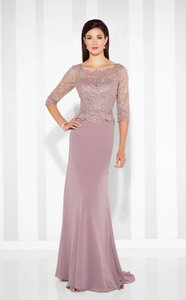 Cameron Blake Pink Topaz Stretch Mesh and Lace Hand-beaded Chiffon A-line Gown From - 117617 Formal Bridesmaid/Mob Dress Size 8 (M)