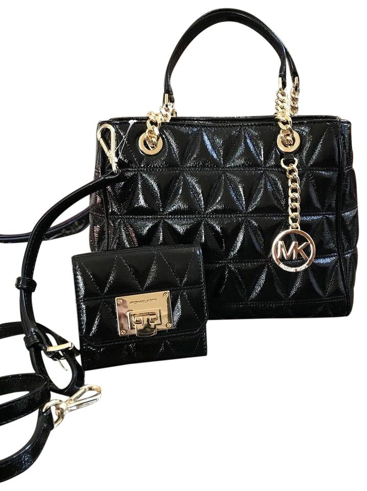 Michael Kors Susannah Medium Patent Leather Chain Md Ns Tote In Black