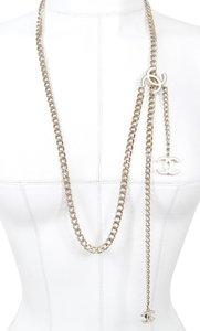Chanel CHANEL Belt Necklace Chain Skinny Gold HW White