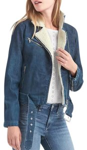 Gap Moto Cropped Cool Blue Denim with Ivory Shearling Womens Jean Jacket